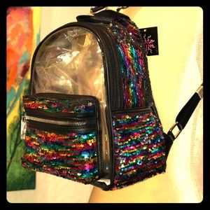 Rainbow Sequin Transparent Backpack